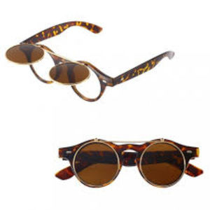 Accessories - Retro Double Flip Up Glasses Sunglasses Leopard